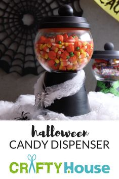 She Starts With A Terra Cotta Pot And Gets A Halloween Candy Dispenser!