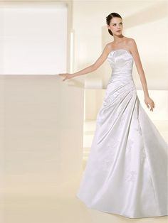 A Line Strapless Neckline Lace-Up Back Wedding Dress