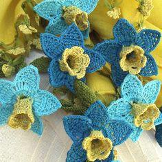 Turkish OYA Lace SILK flower cotton stole/Shawl MUSTARD