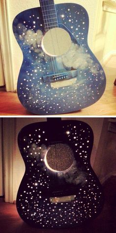 Upcycled Guitar Lamp (Moon and Stars) - wow! Heh, looks nice, like a decoration, but don't think the sound would sound nice xP Guitar Crafts, Guitar Diy, Guitar Shelf, Guitar Display, Diy Recycling, Diy And Crafts, Arts And Crafts, Craft Projects, Projects To Try