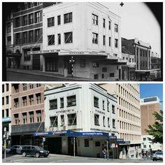 The Wynyard Hotel, cnr Clarence and Erskine Streets Sydney 1939 > 2016. [State Library NSW > Allan Hawley. By Allan Hawley]