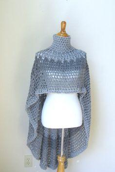 GREY FEMININE  Crochet PONCHO  Aluminum Gray Boho Chic Bohemian Shawl Capelet Turtleneck Knit Trendy Chic Fashion  Original Design