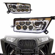 (168.00$)  Watch more here - http://aibln.worlditems.win/all/product.php?id=32785436786 - Promotion! 1 set Chrome Auto Accessories ATV/UTV LED Head light kit Headlamp for Polaris Razor Push 1000