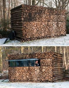 by Hans Linberg, the 'logs' are merely a wood building facade covering a prefabricated plastic and steel frame.Designed by Hans Linberg, the 'logs' are merely a wood building facade covering a prefabricated plastic and steel frame. Modern Log Cabins, Wood Facade, Hunting Cabin, Deer Hunting, Hunting Stuff, Hunting Tips, Wood Logs, Hunting Blinds, Building Facade