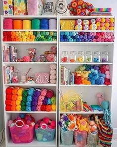 bookcase for yarn storage with crochet and craft supplies in rainbow colours Craft Room Design, Craft Room Decor, Craft Rooms, Home Decor, Yarn Storage, Craft Room Storage, Knitting Room, Knitting Daily, Knitting Yarn