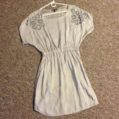 Express Satin Dress Gorgeous light tan silver dress with pockets worn once excellent condition Express Dresses