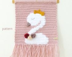 Check out our crochet swan selection for the very best in unique or custom, handmade pieces from our shops. Crochet Bat, Crochet Panda, Crochet Bunny Pattern, Crochet Rabbit, Crochet Home, Crochet For Kids, Crochet Patterns, Crochet Wall Hangings, Tapestry Crochet