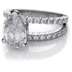 .68ctw Pear Cut Split Shank Engagement Diamond Ring in 18k White Gold... ($1,899) ❤ liked on Polyvore featuring jewelry, rings, pear cut engagement rings, 18 karat white gold ring, 18k white gold ring, round diamond ring and pear shape engagement rings