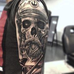 Cool Tattoo Ideas For Sleeve - Skull Sea Captain