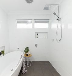 Small wetroom Renovation in Alstonville NSW 2477 By Northern Rivers Bathroom Renovations (NRBR), Ballinas specialist bathroom renovator. Wet Room Bathroom, Open Bathroom, Large Bathrooms, Bathroom Renos, Bathroom Renovations, Bathroom Canvas, Vanity Bathroom, Dream Bathrooms, Beautiful Bathrooms