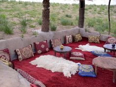 Moroccan decor. Bohemian Living. This needs a fire pit...and a bunch of cool friends, grass and wine...and hopefully a band!