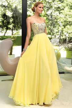 items that are the color yellow | Hottest Beads Yellow Prom Dresses Sweetheart Bodice With Long Chiffon ...