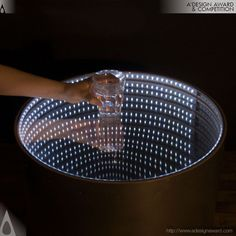 LED, Infinity Mirror coffee table - for Lounge Top 40 Furniture Ideas in March Infinity Mirror Table, Infinity Spiegel, Handmade Furniture, Furniture Ideas, Diy Mirror, Luz Led, Lampe Led, Bar Drinks, Design Awards