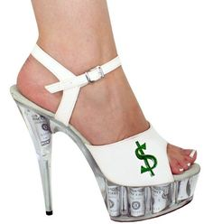 "Kitty Paws Shoes Women's Custom High 6"" Open Toed White Money Print Heels   