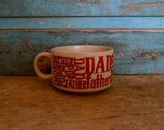 Father Dad Pop Stoneware Cup Soup Mug Vintage Japan Brown by turquoiserollerset on Etsy