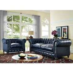 Fall in love at first site with our completely handmade Durango Rustic Blue Leather Living Room Set. The smooth lines of this classic design are accented by individually hand-applied nail head trim and gorgeous button tufting on the back and arms. Best Leather Sofa, Bedroom Furniture Makeover, Living Room Sets, Furniture, Blue Leather Sofa, Room Set, Living Room Leather, Leather Living Room Furniture, Retro Sofa