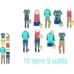 10 items, 9 outfits  Pink, Yellow and Blues