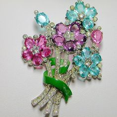 Let's Get Vintage - Brooches/Pins - Heavenly vintage floral bouquet dress clip. Signed TRIFARI - Vintage Costume Jewelry