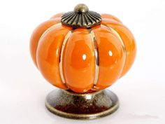 shabby chic Pumpkin Ceramic Knobs Pulls / Dresser Drawer Knobs / Kitchen Cabinet Knobs Handle Pulls Colorful Porcelain Knob Pull