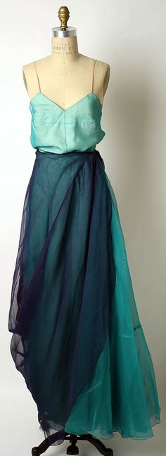 Mad Carpentier (French, 1939–1957) - Vintage two-tone blue dress