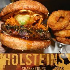 """""""Rising Sun = kobe beef, teriyaki glaze, nori furicane, crispy yam, spicy mayo & tempura avocado #holsteinsburgersoc #holsteinsshakesandbuns #burger…"""""""