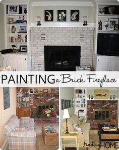 Transforming a space: Painting a brick fireplace with Finding Home Farms Fireplace Remodel, Brick Fireplace, Fireplace Ideas, Reno, Do It Yourself Home, My Living Room, Space Painting, Thumb Painting, Painting Brick