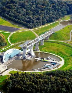Falkirk Wheel in Scotland  When i was little i had a dream of this but i got dumped out and the water was like that but there was a lot of boats!80 and i have never seen this before in my life!-Stella