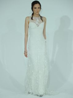 Claire Pettibone lace wedding dress with illusion neckline from Spring 2016