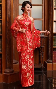 Mandarin collar gold phoenix tail red brocade halter cheongsam wedding dress | Modern Qipao