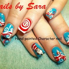 Cat in the Hat/ Dr. Seuss painted nails