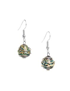 Wrapped Recycled Paper Earrings - Consume with Love:  Matching paper beads are wrapped in stainless steel wire and finished with sterling silver-plated hooks. Colors will vary. Each paper bead is coated with a non-toxic lacquer making them water-resistant and highly durable.  ----- Handmade with love in Kenya. -------- By buying fair trade, you make a very real impact on the daily lives of people in the most impoverished communities.