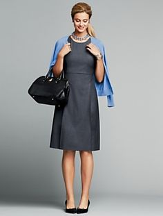 Grey/gray wool sheath dress with blue cardigan, black bag and black shoes. Gorgeous, professional style. All items from Talbots Fall 2013.