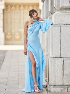 971a4d434c51 Costarellos Spring Summer 2018 Collection SS18-10One Shoulder Front Split Long  Dress