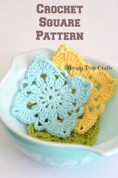 Crochet Granny Square Patterns Mango Tree Crafts: Crochet Square Pattern and Photo Tutorial Crochet Squares, Crochet Motifs, Granny Square Crochet Pattern, Diy Crochet, Crochet Crafts, Crochet Stitches, Crochet Projects, Knitting Projects, Tutorial Crochet