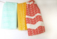 Chevron, Dots, Lines, Designs - Dish Towel Set of Three by leahduncan on Etsy