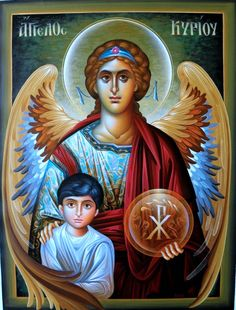 Archangel Raphael with Tobiah Religious Images, Religious Icons, Religious Art, Angel Warrior, I Believe In Angels, Archangel Gabriel, Religious Paintings, Jesus Christus, Byzantine Icons