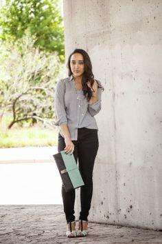 Diary of a Southern Shopper | Shirt: Express | Jeans: Zara | Heels: Shoedazzle | Clutch: TJ Maxx