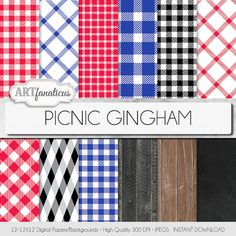 Gingham digital paper PICNIC GINGHAM reds blues by Artfanaticus  My backgrounds, textures, digital paper and clip art can be used for just about any project. Add some additional artistic style to your photo albums, photography projects, photographs, scrapbooking, weddings, invitations, greeting cards, gift wrap, labels, stickers, tags, signs, business cards, websites, blogs, party decor, jewelry & more.  For more digital papers, please visit Artfanaticus at:  http://artfanaticus.etsy.com