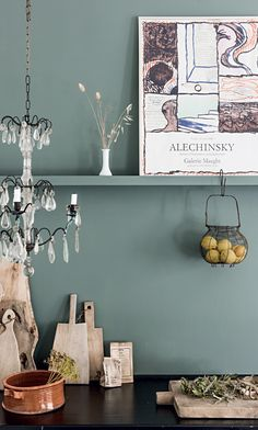danish kitchen with gray wall and with dark counters and assorted kitchenwares displayed / sfgirlbybay Green Kitchen Walls, Green Kitchen Cabinets, Kitchen Wall Colors, Kitchen Paint, Kitchen Furniture, Kitchen Decor, Decorating Kitchen, Danish Kitchen, Gravity Home