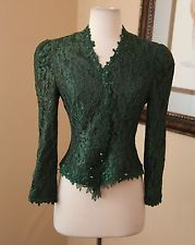 Vtg Cachet Green Lace Beaded Evening Blouse / Shirt Sz 4 6 Formal Emerald