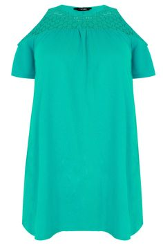 Jade Green Cold Shoulder Jersey Top With Lace Yoke Size 14, Plus Size, Bardot Top, Jade Green, Spring Outfits, Cold Shoulder, That Look, Short Sleeve Dresses, Spring Summer
