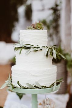 White Cake with Olive Branches--a simple, rustic Italian touch.