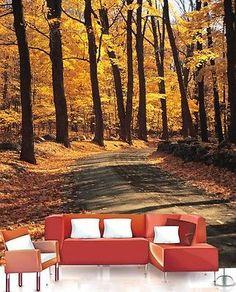 3D Herbstwaldweg Fototapeten Wandbild Fototapete Bild Tapete Familie Kinder