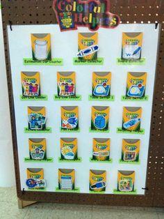 Crayon themed job chart for preschool classroom. Crayon themed job chart for preschool classroom. Preschool Classroom Jobs, Preschool Job Chart, Crayon Themed Classroom, Head Start Classroom, Classroom Charts, Classroom Helpers, Classroom Decor Themes, Classroom Design, Classroom Organization