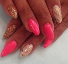 Gold and pink gel nails