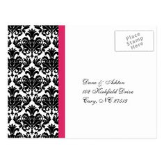 Wedding RSVP Reply Hot Pink Damask Postcard