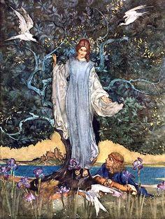 And the damosel of the lake rejoiced Sir Pelleas: Le morte d'Arthur, 1910-11 ~ Sir William Russell Flint (1880-1969)