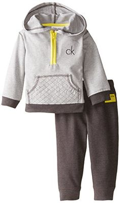 Hoody Pants Calvin Klein Baby Boys' Gray Hoody with Pants, Gray, 24 Months