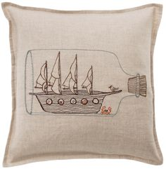 Coral & Tusk - Embroidered Ship in Bottle Pillow