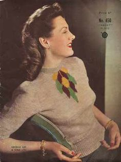 alwaysalwaysalwaysthesea: Late 1930s-early 1940s sweater knitting pattern with jabot design. (More vintage sweaters on my blog today.) (via Skiff Vintage Knitting)